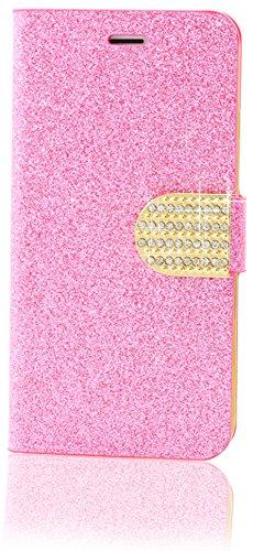 Apple iPhone 4 / 4s Hülle Handy Strass Steine Glitzer Leder Schutzhülle in [Pink], monjour 2in1 Wallet Book-Style [2 x Kartenfach] Panzer Tasche Cover Flip Case mit [Klappbar + Standfunktion] – Bumper Abdeckung aus Kunst-Leder (Pink 4 Wallet Etui Iphone)