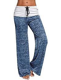 GAMISS Mujer Pantalones Anchos de Pierna Largo Cintura Media Pantalón Suave Yoga Fitness Deportes Tallas Grandes S-2XL