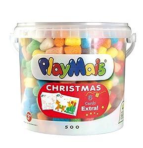 PlayMais 160073 Classic Christmas Bucket - Cubo de 5 litros con Aprox. 500 Piezas