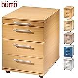 Bümö® Rollcontainer in Buche mit 3 Schüben und Schreibwaren Schublade | Bürocontainer aus Holz | Tischcontainer mit Rollen | Büro Container für Ihren Schreibtisch