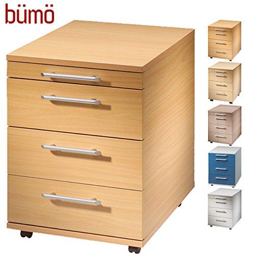 Bümö Rollcontainer in Buche mit 3 Schüben und Schreibwaren Schublade | Bürocontainer aus Holz |...