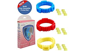 Safe-O-Kid Triple Protection Mosquito Repellent Band with 18 Refills and 6 Anti Mosquito Patches (Pack of 3, Blue/Yellow/Red)