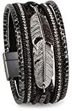 styleBREAKER weiches Armband mit Strasssteinen, Flechtelementen, Kette und Feder, Magnetverschluss, Damen 05040040, Farbe:Antik-Schwarz