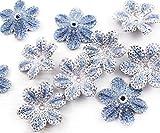 10pcs Azul de Plata de Ganchillo de Punto Plana Apliques de Flores Parche para Coser el Bordado Broche hecho a Mano Suministros de Artesanía 25mm