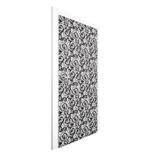 Vliestapete Tür Premium–schwarz und weiß Blätter Muster–Tür Wand Wandbild, Dimension HxB: 215x 96–0,00
