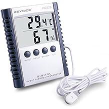 Keynice Meteo Termometro con rilevazione Umidità, montaggio a parete. Sensore per casa e ufficio, termometro interno digitale con memoria