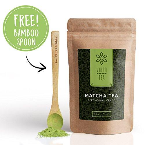 Matcha Grünteepulver Grüner Matcha-Tee | Zeremonieller Grad 50g, inkl. Gratis-Bambuslöffel - für mehr Energie & Fokus - voller wertvoller Antioxidantien | Premium Matcha-Pulver für Lattes, Smoothies & zum Kochen | von Vireo