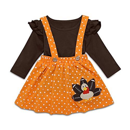 Kleinkind Kinder Baby Mädchen Tops Trägerkleid Kleidung Anzug Thanksgiving Türkei T Shirt Hosenträger Rock Outfits Set, Coffee, 6-12 Monate -