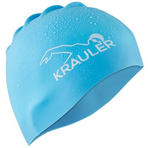 KRAULER - Hochwertige Silikon Bademütze Badehaube Badekappe