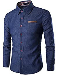Rawdah Camisa de manga larga casual de los hombres de algodón Camisa de corte slim de los negocios de la blusa de vaquero Top