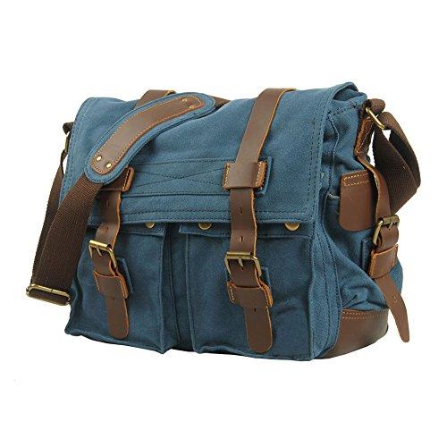 VRIKOO Vintage Military Soft Canvas Crossbody Sports Casual Shoulder Bags Satchel School Messenger Bag (Dark Coffee,XL) Blu