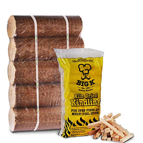 The Chemical Hut Wooden 1.5Kg Kindling and x5 Long Lasting Stone baked Pizza Oven Fuel Logs - Includes White Woven Sack, ideal to store wood, logs, kindling etc