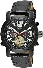 Comprar Aatos PrinosLBB - Reloj de caballero automático, correa de piel color negro, caja de acero inoxidable bañado en negro