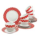 Creatable 19722, Serie UNO Punkte rot-weiß, 18 teilig Kaffeeservice, Porzellan, Mehrfarbig, 31,5 x 19 x 26 cm, Einheiten