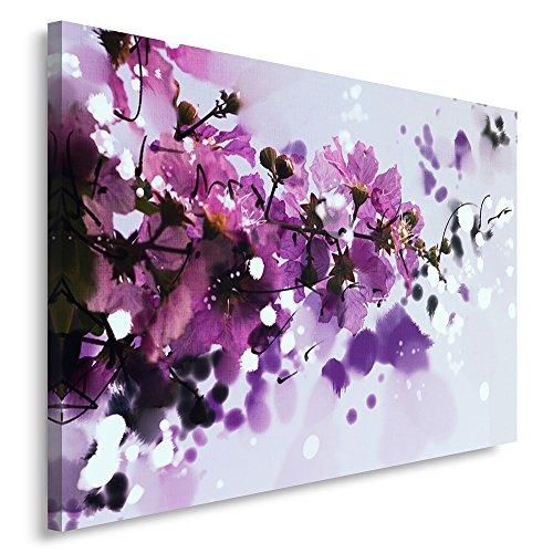 Feeby Frames, Tableau imprimé xxl, Tableau imprimé sur toile, Tableau deco, Canvas 60x80 cm, FLEURS, NATURE, ABSTRACTION, COULEUR, VIOLET