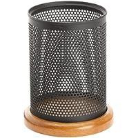 Rolodex Q22721 - Portapenne in legno di ciliegio e metallo, colore: Nero