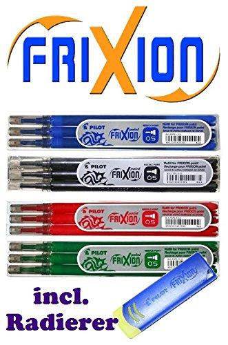Preisvergleich Produktbild Pilot FriXion Point Tintenroller - 4 Ersatzminen-Sets zu je 3 Stück in den Farben blau, schwarz, rot, grün mit Radierer (4 Ersatzminen Sets mit Radierer | 0,5, blau | schwarz | rot | grün)
