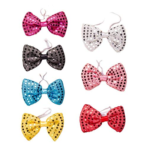 Tie Necktie with LED Flashing Lights, Adjustable Accessory Party Lights Sequins Glow Prop Gathering Decor Flashing (Bowknot) ()