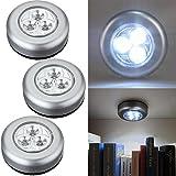 3 LED Schrank, weißes Licht, warmes LED, batteriebetrieben, kabelloses Nachtlicht Stick Touch-Lampe zum Aufstecken für Schränke, Schränke, Theken oder Hauswirtschaftsräume, schnurloses Touch-Licht