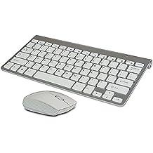 multimedia mini teclado inalámbrico y ratón inalámbrico blanco ,El USB lo encontraras dentro del TECLADO junto a la pila (2.4GHZ,ESPAÑOL ) -Teclado EN COLOR PLATEADO -Diseño único y fashion - Teclado fino y facíl de usar - Garantía de devolución del dinero