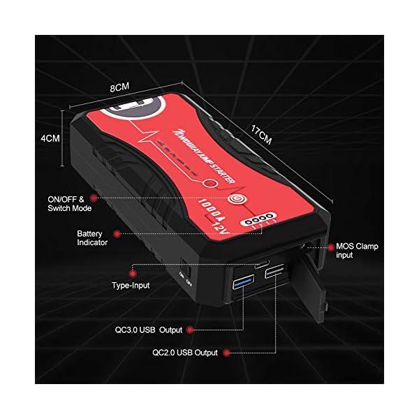 NWOUIIAY Arrancador de Coches 13200mAh 1000A Impermeable Arrancador Batería Coche 12V (hasta 6.0L Gas o 5.0L Diesel…