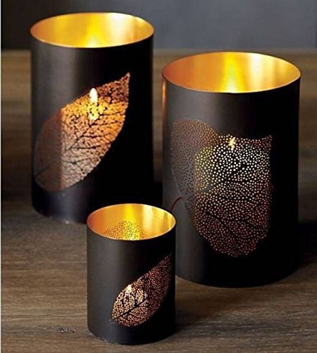 Inspiration World Leafcutout Glass Iron 3 - Cup Candle Holder (Brown, Gold,...