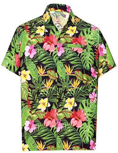 HAPPY BAY Männer Hawaiihemd Kragenknopf nach unten Schwarz_AA7 XL - Brustumfang (in cms) : 121-132 -
