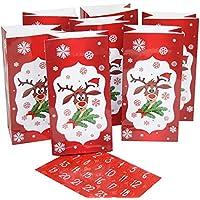 """Adventskalender """"Rentier"""" mit 24 Tüten + 24 Sticker von 1- 24 zum Selbstbefüllen"""
