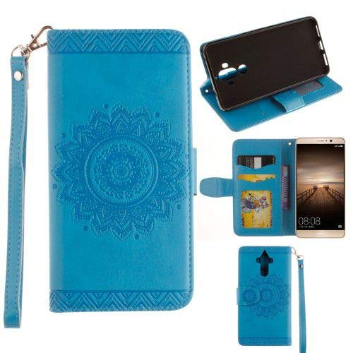 jbTec® Flip Case Handy-Hülle zu Huawei Mate 9 / MHA-L09 Dual-Sim/MHA-L29 - Book Muster Mandala A16 - Handy-Tasche Schutz-Hülle Cover Handyhülle Ständer Bookstyle Booklet, Farbe:Blau