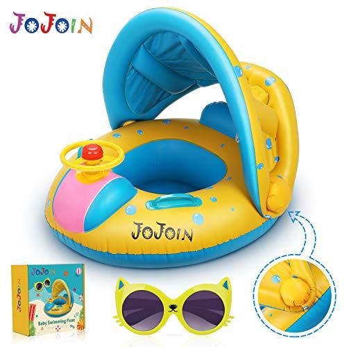 Jojoin Baby Schwimmring - Aufblasbare Baby Schwimmen Float Ring mit langlebigen süßen Katzensonnenbrillen und abnehmbarem Sonnendach für Kleinkinder