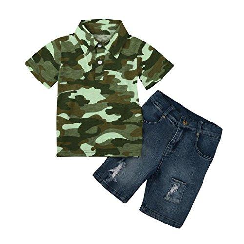 Kinder Junge Tarnung T-Shirt Denim Hose Outfits Kleider Set_Hirolan (2T, Tarnung)