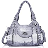 Angel Kiss - Sac à main Cuir lavé Femme (AK812-2Z Grey)