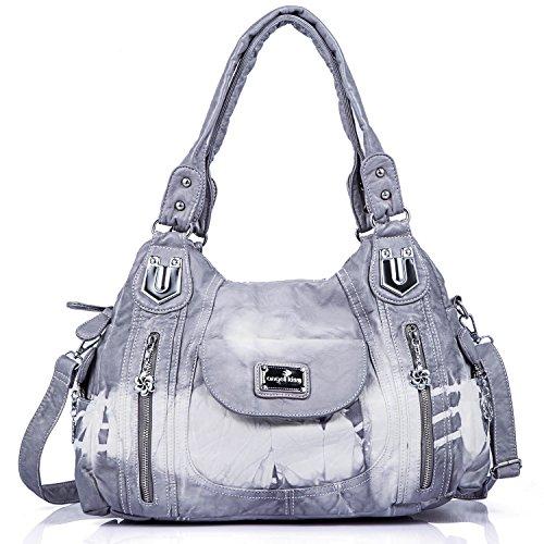 angel kiss Damen Handtasche Schultertasche PU Leder Top Griff Satchel Tote Bag, Ak812-2z Grey, Large -