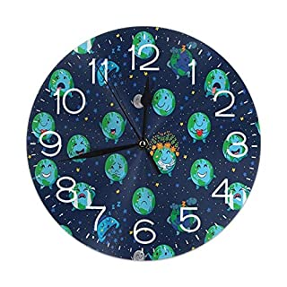Uosliks Planet Earth Faces Expressions Wanduhr Silent Non Ticking, Round Easy to Read for Home Office School Clock