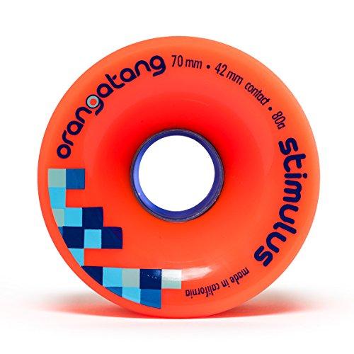 Orangatang Stimulus 70 mm 80a Freeride Longboard Skateboard Wheels (Orange, Set of 4)