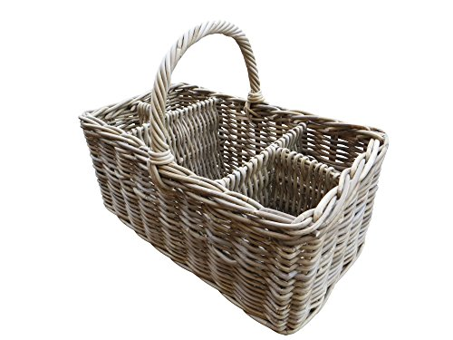 Grey Rattan Picnic and Bottle Basket