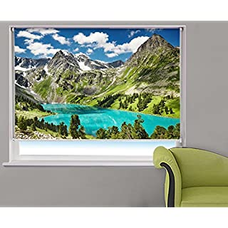 ALTAI MOUNTAINS LAKE & LANDSCAPE Printed Picture Blackout Photo Roller Blind - Custom Made Printed Window Blind