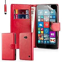 32nd® Funda Flip Carcasa de Piel Tipo Billetera para Microsoft Lumia 640 con Tapa y Cierre Magnético y Tarjetero - Rojo
