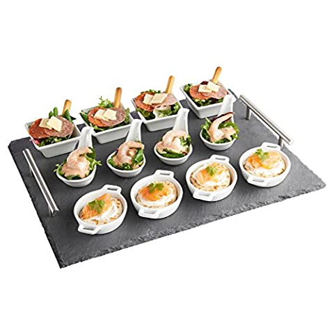 VonShef 13 Piece Tapas Appetiser Set with Slate Board Ideal