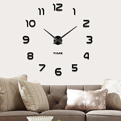 Vangold Moderne Mute DIY große Wanduhr 3D Aufkleber Home Office Decor Geschenk (schwarz-42) (Home Decor Diy)