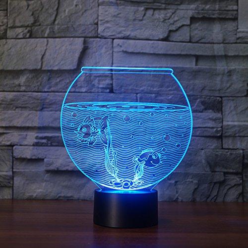 Nachtlicht 3d, nacht lampe led, schlaf licht, aquarium tischlampe touch 7 farben ändern illusion usb schlafzimmer dekor für kinder halloween beste geschenke
