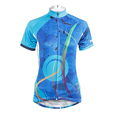 KMFEEL Cool Blue Circle Invisible Zipper Women Cycling Clothes Short Sleeve Jersey Sportwear M