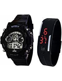 Lemonade Digital Black Dial Sports Watch & Unisex Silicone Black Led Digital Watch For Boys, Girls, Men, Women...