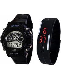 Lemonade Digital Black Dial Sports Watch & Unisex Silicone Black Led Digital Watch For Boys, Girls, Men, Women...