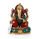 Collectible India Brass Hindu God Ganesha Idol Handmade Religious Statue for Good Luck & Success