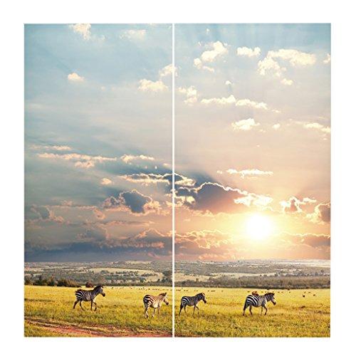Homyl 2er-Set Tiere Vorhang Schal Verdunkelungsvorhang BLICKDICHT für Wohnzimmer Schlafzimmer, Auswahl - Zebra (Zebra Tier Vorhang-set)