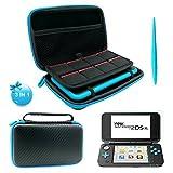 FYOUNG 2DS XL Case, 3 en 1 Housse pour Nintendo 2DS XL avec Stylet, 2 films de protection d'écran et 8 étuis pour cartes de jeu (Black)
