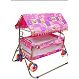Baby Love Cradle Cum Cot Cum Stroller Bassinet For Babies-Pink
