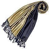 Lorenzo Cana Luxus Damen Pashmina - DUNKELBLAU GOLD - Wendeschal 70% Seide 30% Viskose Schaltuch 70 x 190 cm zweifarbig Schal Stola wendbar Double Face