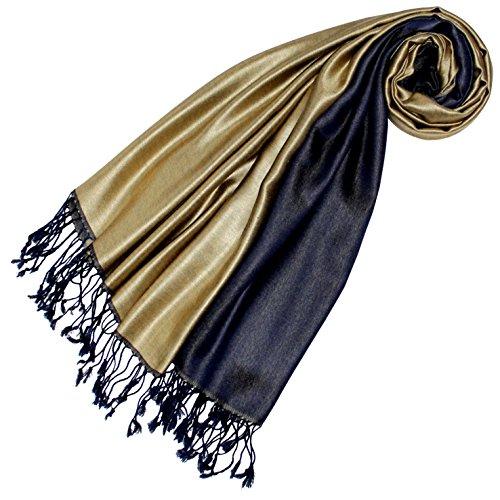 LORENZO CANA Luxus Damen Pashmina - DUNKELBLAU GOLD - Wendeschal 70% Seide 30% Viskose Schaltuch 70 cm x 190 cm zweifarbig Schal Stola wendbar Double Face 78425